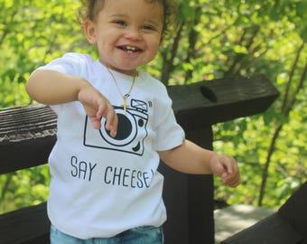 Baby camera shirt, say cheese shirt, photography shirt, retro camera shirt, smile baby shirt, photographer shirt, baby shower gift, cameras