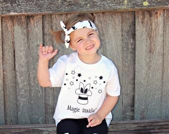 Magic inside shirt, magic tee, kids magic shirt, rabbit ears shirt, rabbit shirt, magician shirt, magical shirt, stars shirt, birthday gift