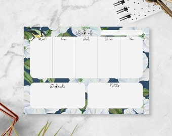 Weekly Notepad Calendar - Weekly Planner Pad - Small Desktop Planner - Desktop Notepad - College School Supplies - Small Weekly Desk Planner