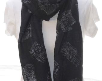 Black camera Scarf shawl, Beach Wrap, Cowl Scarf,Black camera print scarf, cotton scarf, gifts for her