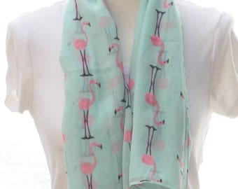 Aqua flamingo Scarf shawl, Beach Wrap, Cowl Scarf, aqua flamingo print scarf, cotton scarf, gifts for her