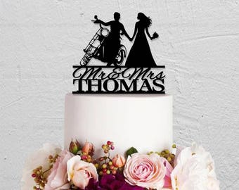 Motorcycle Wedding Cake TopperMr And Mrs TopperBride Groom Topper