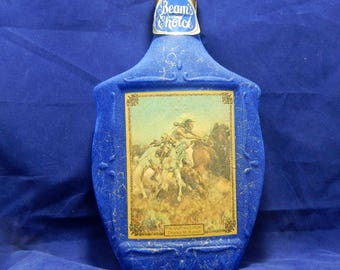 "1968 Beam's Choice Liquor Decanter for Jim Beam - ""The Buffalo Hunt""  by Charles M. Russell - Blue Velvet Whiskey Decanter ~ Americana Art"
