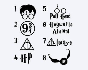 Harry Potter Decal - Harry Potter Vinyl Decal - Pott Head - Hogwarts Alumni - HP - Always - Snitch - Deathly Hallows - Platform 9 3/4