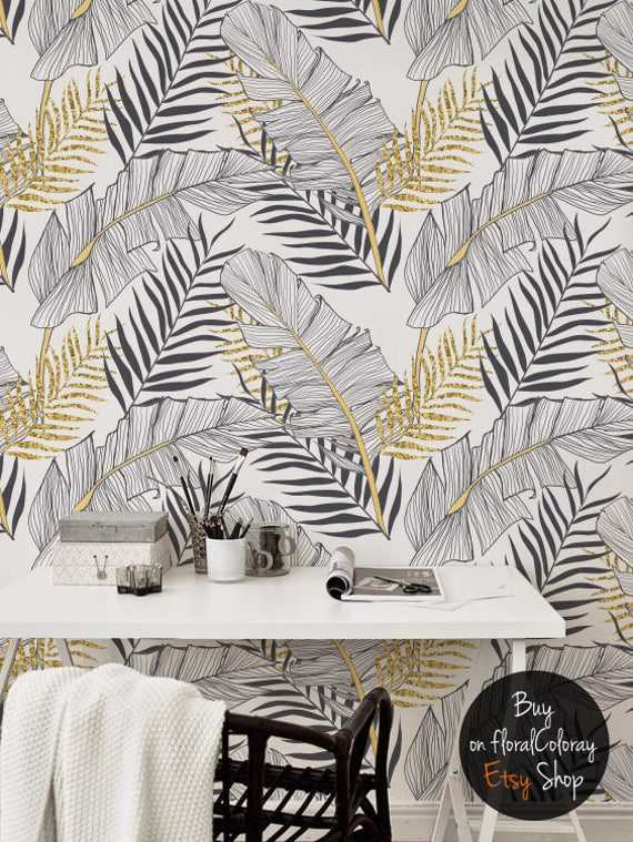 Tropical Gold Leaves Removable Wallpaper Palm Leaf Wall