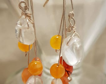 Carnelian earrings; Gemstone earrings; Clear quartz earrings; Orange earrings; Silver earrings; Quart earrings
