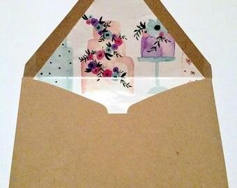 Wedding Cake Lined Envelopes