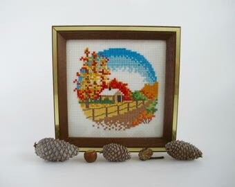 Fall Cross Stitch, Vintage Fall Decor, Framed Cross Stitch, Fall Wall Art