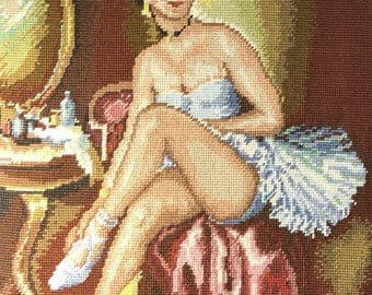 Vintage French Needlepoint tapestry ballet dancer ballerina Framed 25 inch