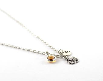 SUNFLOWER charm necklace, sunflower jewelry, personalized necklace, initial necklace, birthstone jewelry, initial jewelry, personalized gift