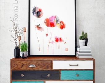 Poppies art Modern Abstract painting Contemporary Home wall decor poppi flowers wall art poppy flower poster poppies mixed media wall art