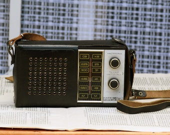 Vintage black radio, Russian radio KVARC 406, Portable radio transistor, Transistor radio, Old radio, Radio receiver with leather case