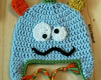 Silly Monster Handmade Crochet Knit Beanie Hat from Newborn to 12 years