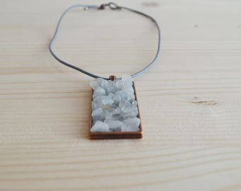 White beach glass rectangular pendant necklace