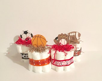 Sport Theme Mini Diaper Cakes. Sport Themed Baby Shower. Baby Shower Gift or Centerpiece. Decorations. Boy Baby Shower. Sport Diaper Cakes.