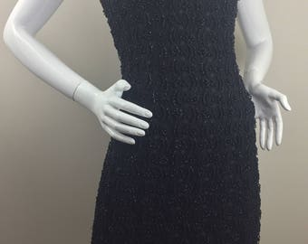 1950's Beaded Black Lace Dress/Size 6