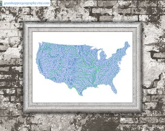 High Quality Digital Map Prints From A By GrasshopperGeography - Us map high resolution