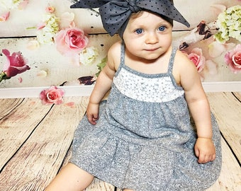 Matching Headbands- Gray Dottie Headband; Polka Dot Headband; Polka Dot Bow; Polka Dot Headwrap; Gray Headband; Gray Bow; Gray Headwrap