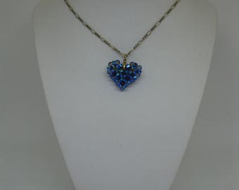 Woven heart with swarovski crystals