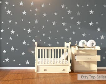 Wall Decals, Wall Stickers, 120 Silver Metallic Stars, Nursery Wall Stickers, Babies Wall Art Decal , Vinyl, Wedding, Wallpaper Art Decor
