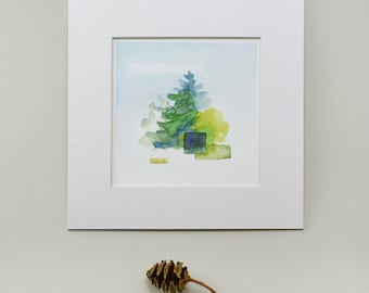 Original Watercolor, Pine Trees, Abstract Landscape Painting