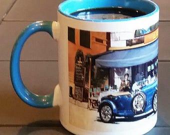 Bugatti Automobile Mug, Bugatti Type 43 mug, French car mug, Gift for dad/ granddad,  Co-worker gift, Vintage French car mug,Vintage car mug