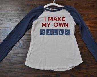 Kids Large Scrabble Shirt, Kids Thrifted Blue and White Shirt, Children's Large Long-Sleeve Shirt, Thrift Store Finds, Large Kids Shirt