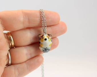 Miniature porcelain australian shepherd dog pendant, ceramic shepherd doggy necklace chain, tiny cute puppy dog charm, ready to ship