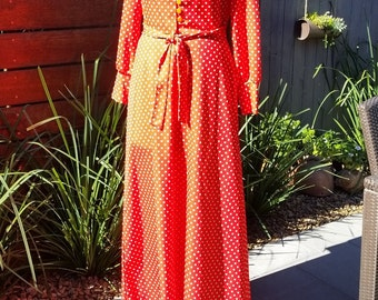"Vintage ""Melissa Lane"" Red White Polka Dot Maxi Dress"