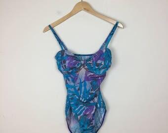 90s One Piece Swimsuit Size M, Floral Swimsuit, Vintage Swimsuit, 80s Swimsuit