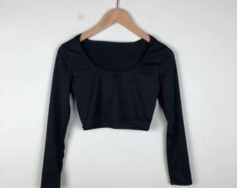 90s Black Crop Top Size Small, Black Long Sleeve Crop Top