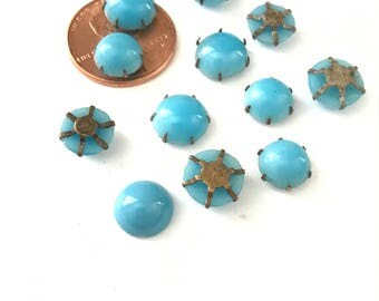 Vintage Turquoise Blue Glass Sew On Cabochons 8/9mm (16)