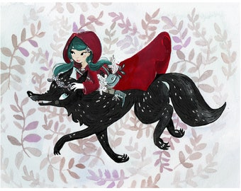 Little Red Riding Hood and The Wolf Storybook Watercolor Print.