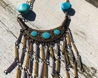 Gold & Turquoise Fringe Necklace