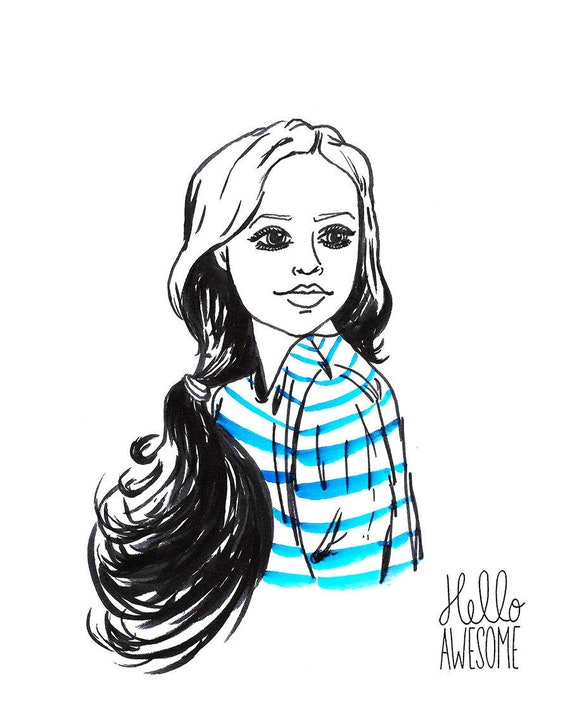 Royal Blue Modest Fashion Illustration 5x7 Print