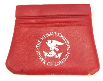 Vintage The Herald's <Museum Tower of London Coin Purse, Red Coin Purse - USED Vintage Coin Purse