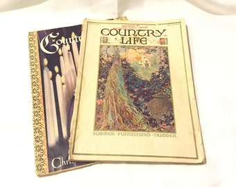 2 RARE LARGE Vintage 1920s Country Life Magazines - Country Life Magazines