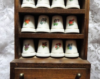 Vintage Thimbles and hardwood case People's Republic of China
