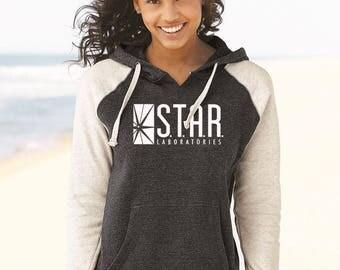 Star Labs Sweatshirt, STAR Laboratories Flash The TV Series S.T.A.R. Labs Super Soft Hoodie, Star Labs Women Raglan Hooded Sweatshirt