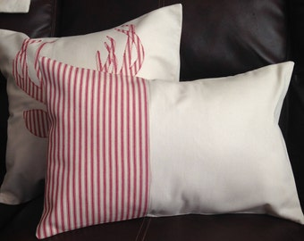 Rectangle Ivory & Red Stripe Pillow Cover