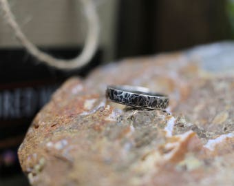 Distressed Sterling Silver Ring, 4 mm wide, Every Day Ring