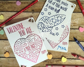 Valentines For Kids Classroom Valentines Sets Non Candy Valentines Handouts  Pencil Valentines Elementary Preschool Class