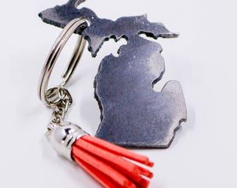 Monogrammed Michigan Keychain w/ Tassel