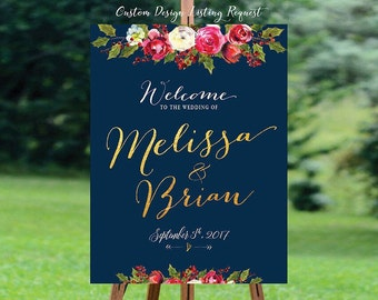 Wedding Welcome Sign, Winter Wedding Welcome Sign, Navy Blue, Navy and Sliver Wedding , Christmas Wedding sign - US_WS1003