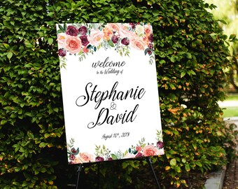 Modern Wedding Sign, Gold polka dot wedding sign, Gold Confetti Wedding Welcome Sign, Navy and Gold, Wedding welcome sign - US_WS1301