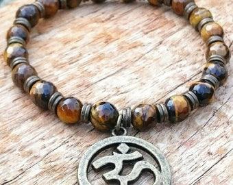Handmade Tigers Eye Beaded Om Aum Spiritual Bracelet with Gift Pouch, Gemstone Bracelet, Om Bracelet, Yoga Bracelet, Gift