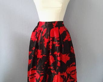 90s rock true vintage black red balloon skirt S 36 50's style pin up Rockabella satin party dancing