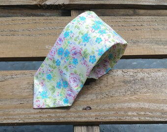 Blue and Pink Floral Necktie, Pink Roses, Blue Flowers, Flower Necktie, Floral Necktie