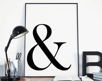 Buy 2 get 2 free, Ampersand print, Typography print, Scandinavian print, Monogram minimalist print
