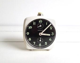 Vintage square alarm clock white 'Kienzle' duo - Kienzle Germany - Kienzle clock